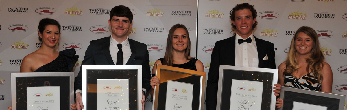 The five 2015 AIMES Award Winners who attended the gala dinner to accept their awards.