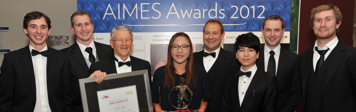 The AIMES Award winners for 2012. From left Byron Smith (accepting award on behalf of sister Amy), Joe Bergin, Peter Menzies (Patron), Lydia Ko, Matthew Bellingham (President), Jason Bae, Andrew MacDonald, Rob Tucker.