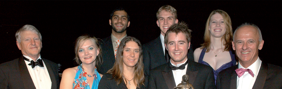 The 2007 AIMES Award winners with Patron Peter Menzies (left) and President Peter Wall (right). Winners from left are Sarah McCallum, Ananth Gopal, Jo Aleh, Daniel Playne, Matthew Flinn and Loren O'Sullivan. Absent were Hollie Smith and Tanya Cooling.