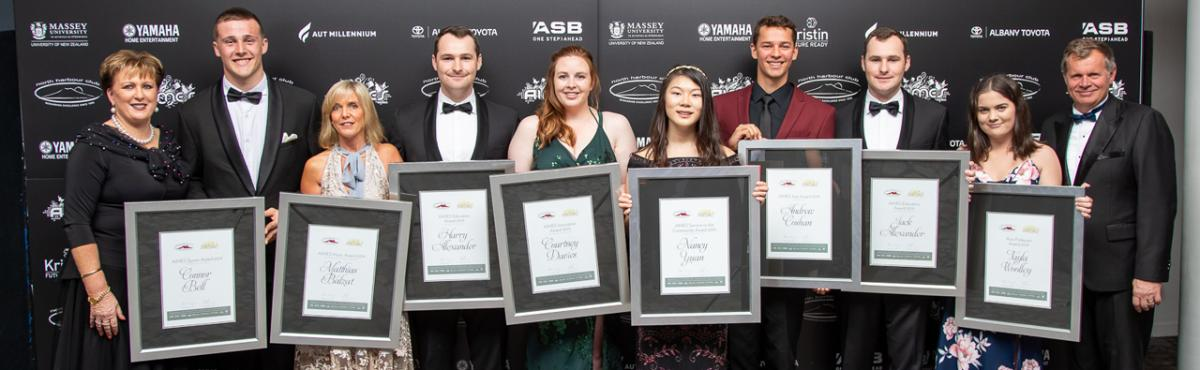 2019 AIMES Awards recipients at the Gala Dinner, with Judging Chair Sue Stanaway (Left) and President Phil Brosnan (Right), from left, Connor Bell, Matthias Balzat (represented by his Mother), Harry Alexander, Courtney Davies (Supreme Winner), Nancy Yuan, Andrew Coshan, Jack Alexander and Ross Finlayson inaugural Award Winner Tayla Woolley.